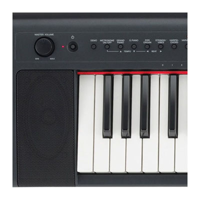 The lightweight Yamaha NP-31 digital piano features soft-touch keys, built-in stereo speakers and is great to play.