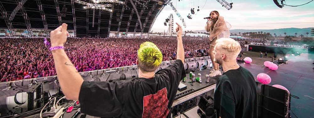 Former RS student James Carter of Snakehips onstage at Coachella Festival.