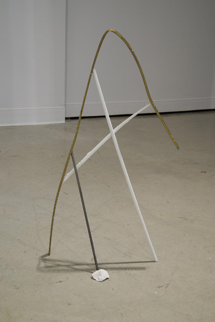 Standing Tall , 2013. Metal frame, pencil rod, wooden dowel, plaster, 66x41x24cm.