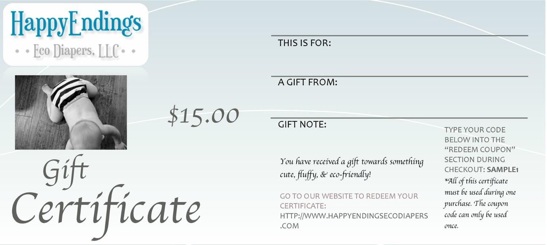 gift certificates happyendings eco diapers llc gift certificates