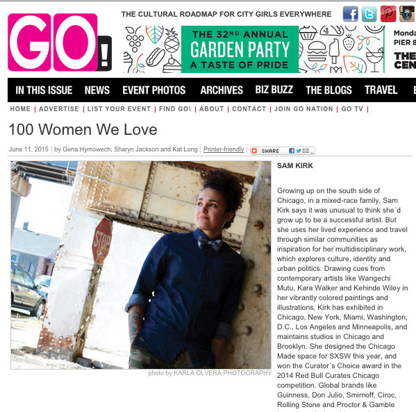 "GO MAGAZINE, ""100 WOMEN WE LOVE"" BY GENA HYMOWECH, SHARYN JACKON, KAT LONG"