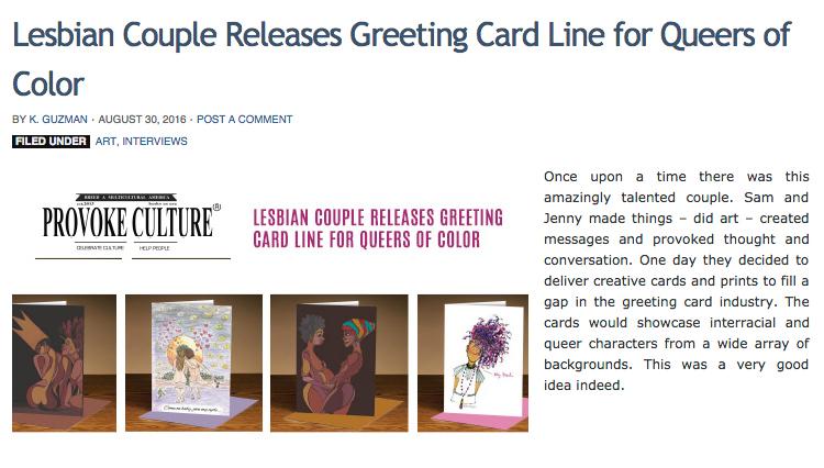 LGBT Greeting Cards Sam Kirk Jenny Cunningham