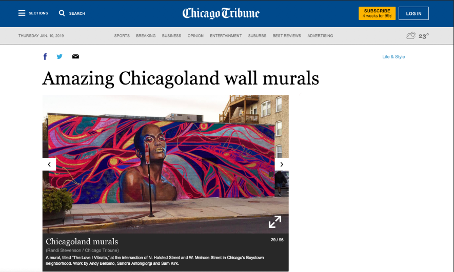 """""""4 of the 77"""" featured murals were completed by Sam Kirk."""