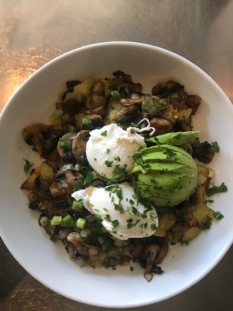 Mushroom Hash with avocado