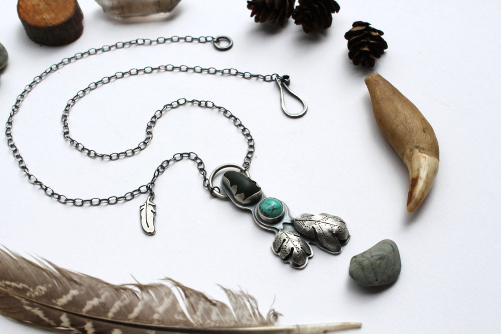 The Naturalist Necklace  (sterling silver, Arizona turquoise and one found Pacific Ocean sea stone)