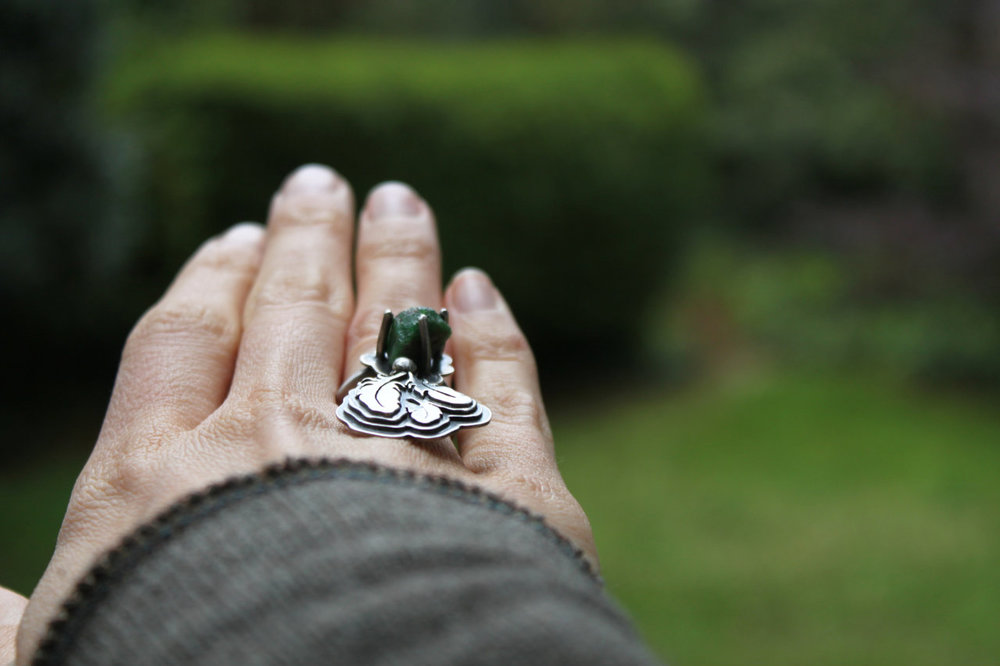 Rise and Root Ring  (sterling silver and Tsavorite garnet)