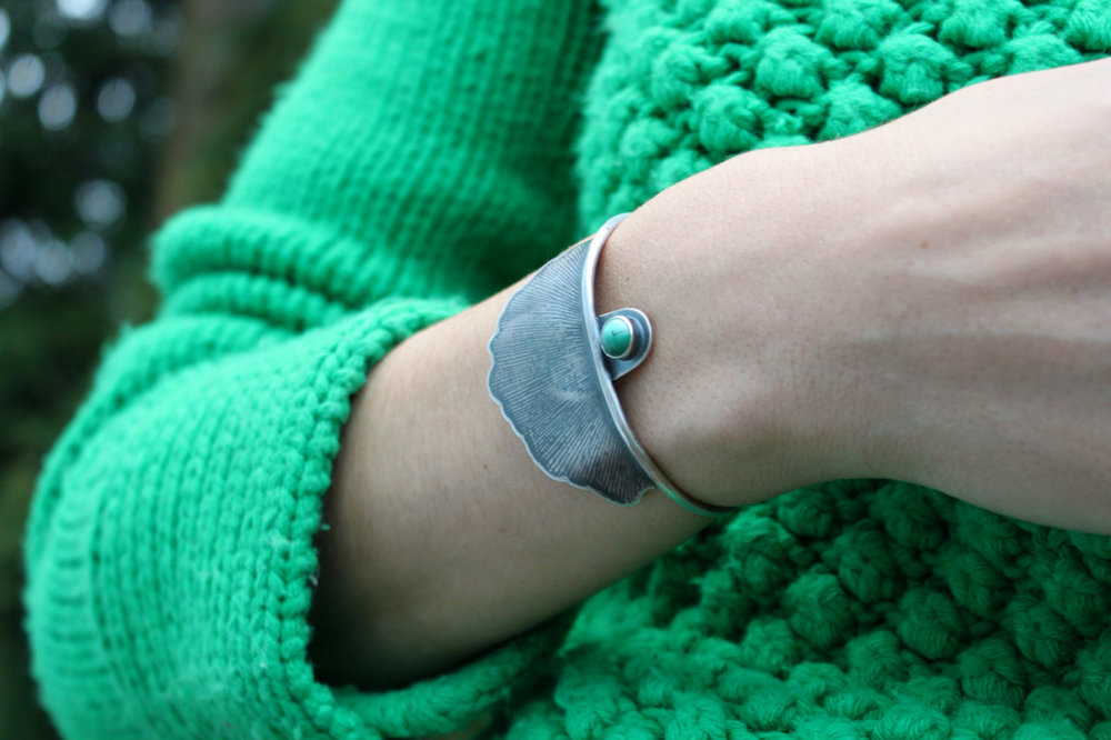 Longevity Cuff  (sterling silver, one massive pressed ginkgo leaf and Arizona turquoise)