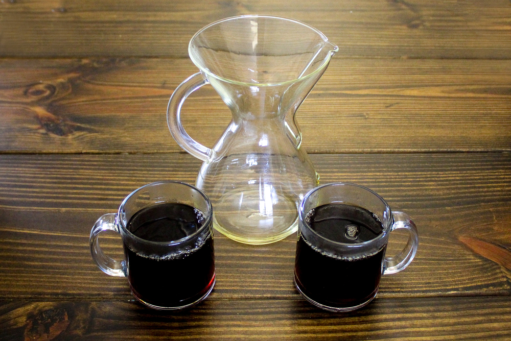 6. Discard filter. Pour into two mugs and enjoy with a friend. The Chemex is great at bringing out the subtle nuances in any coffee, but it really shines with light, floral coffees such as my  Ethiopia: Yirgacheffe .
