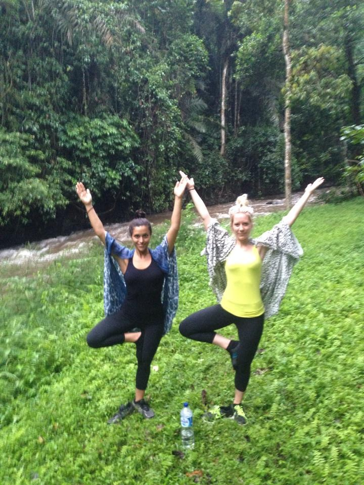 We are tree pose in the massive green rainforest.