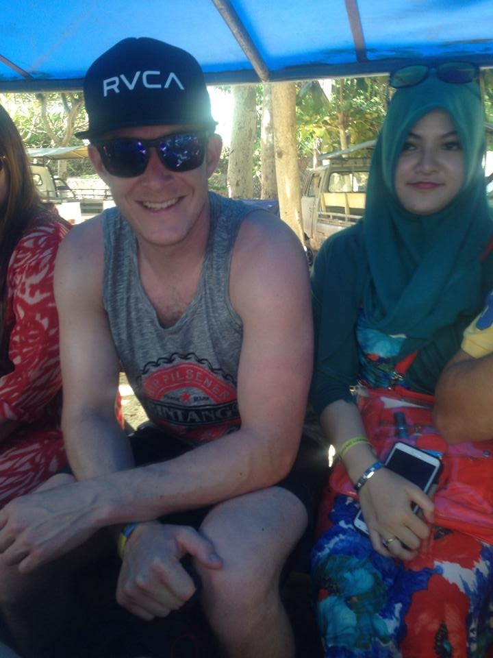 In the back of a truck riding around Lembongan Island.