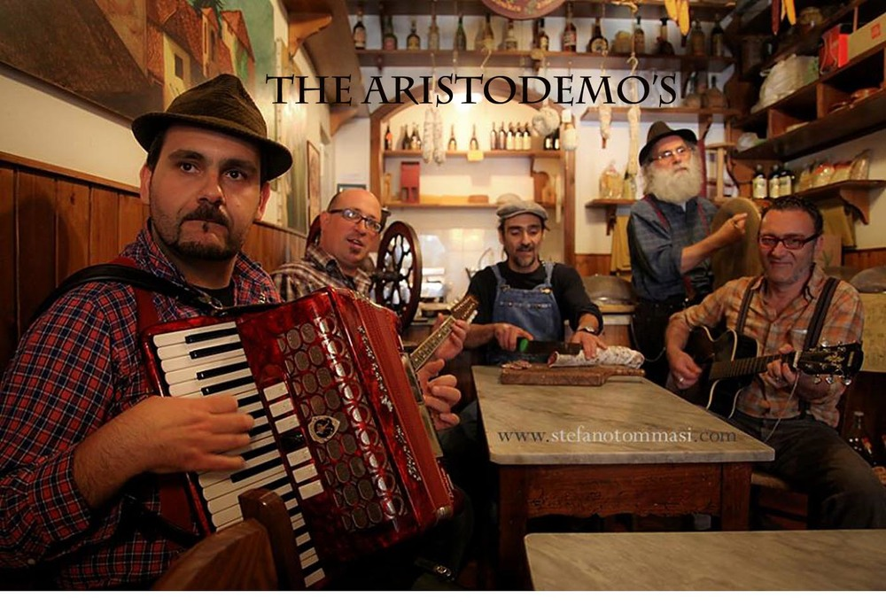 Playing with local folk band at Bar Aristo, the cultural hub of Barga.