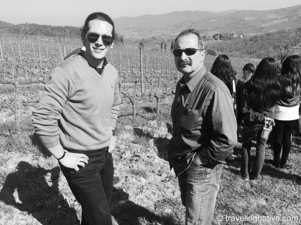 Andrea and Marzio, our Tuscan Drivers.  Panzano in Chianti.  Arcadia University Preview 2014.