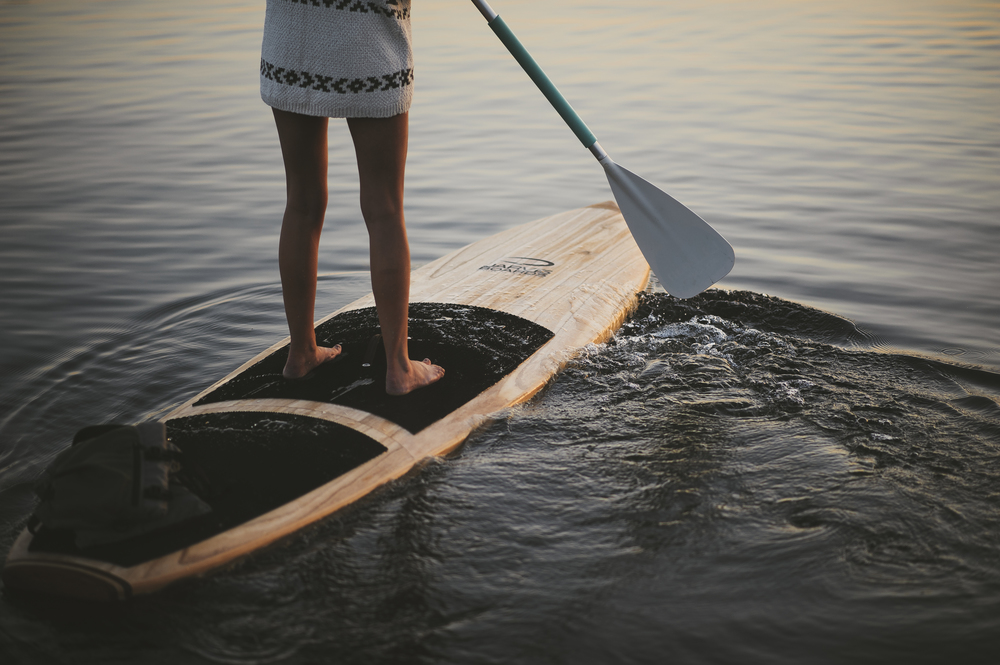 Sunrise on a wood SUP