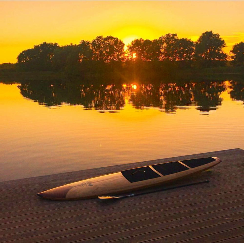 Wood stand up paddle board ready for action in Hamburg, Germany!