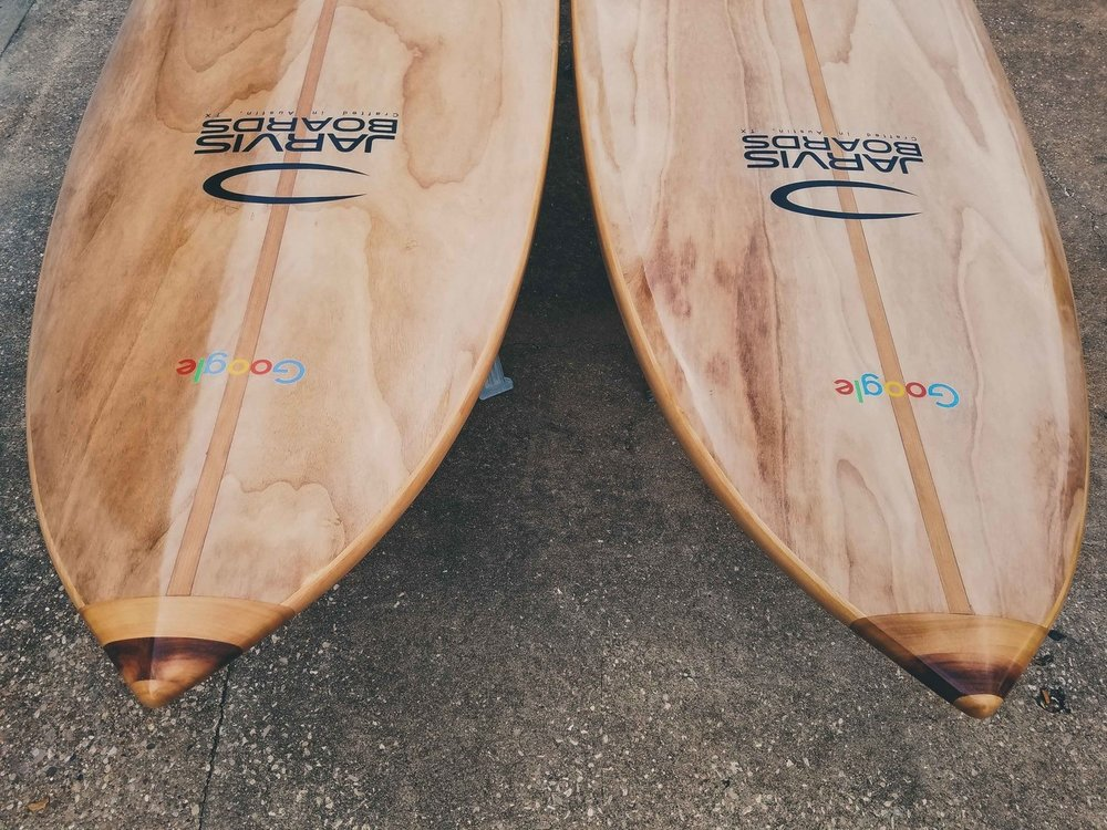 This Pair of custom paddle boards was made for Google and lives on the 25th floor of their Austin office.