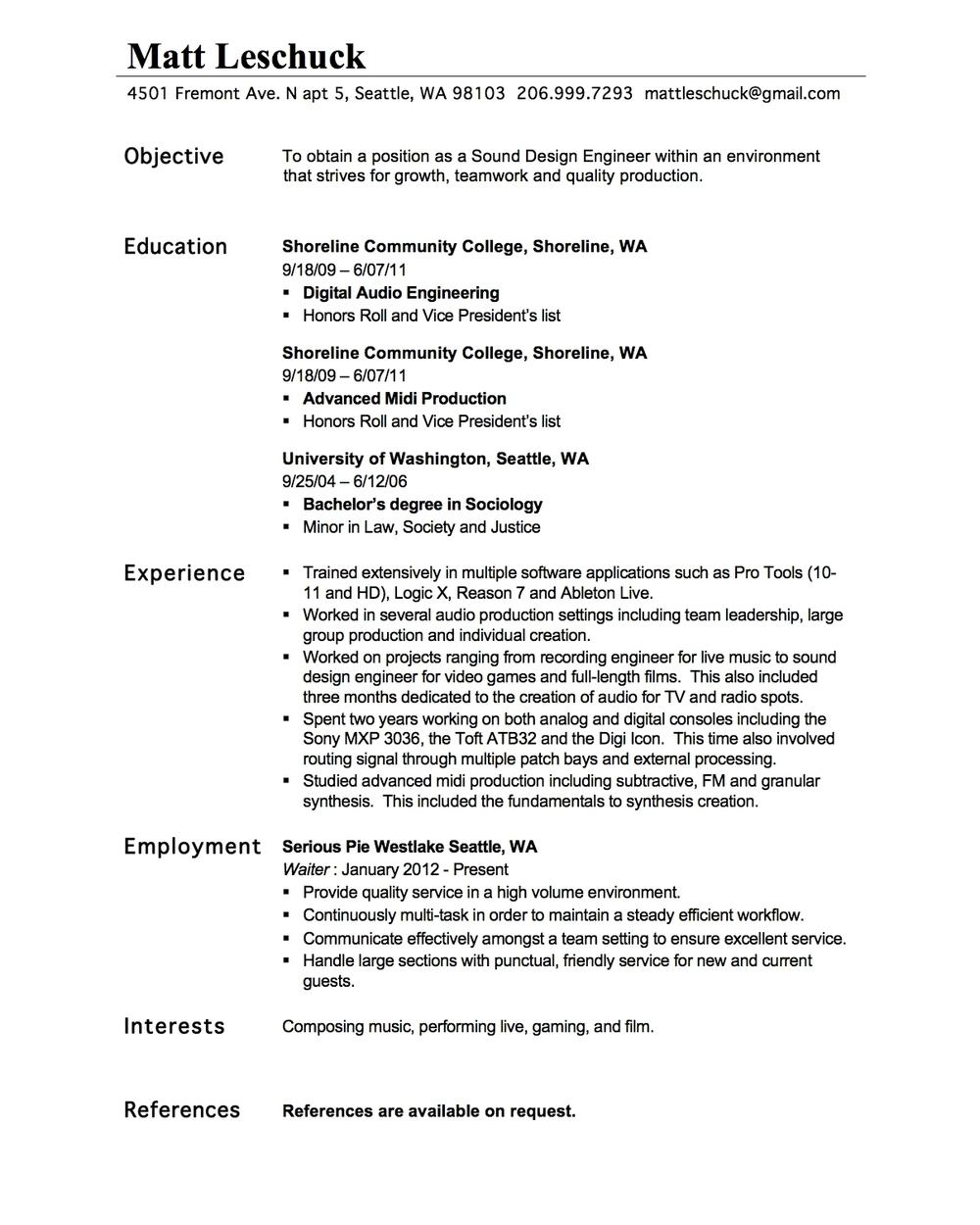 n resume mattleschuck resume matt leschuckjpg audio engineer resume