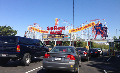 Driving into Six Flags Magic Mountain