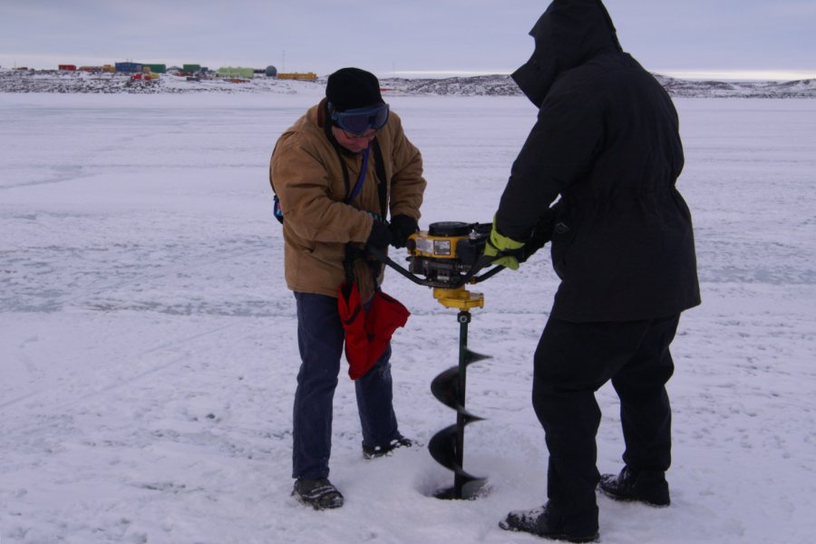 Coring the ice-shelf