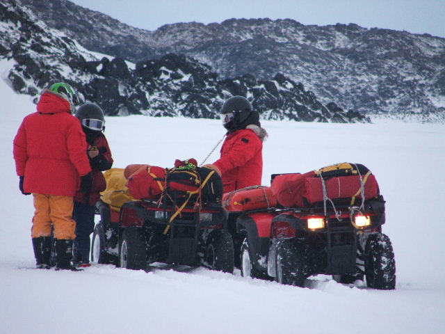 Quad bikes on the way out to Bandits Hut