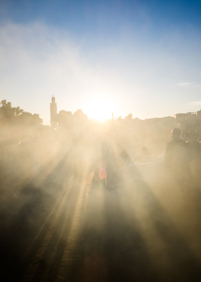 Jemaa el Fna-Marrakech-Morocco-Magic Hour-Sun-Smoke-Sunset