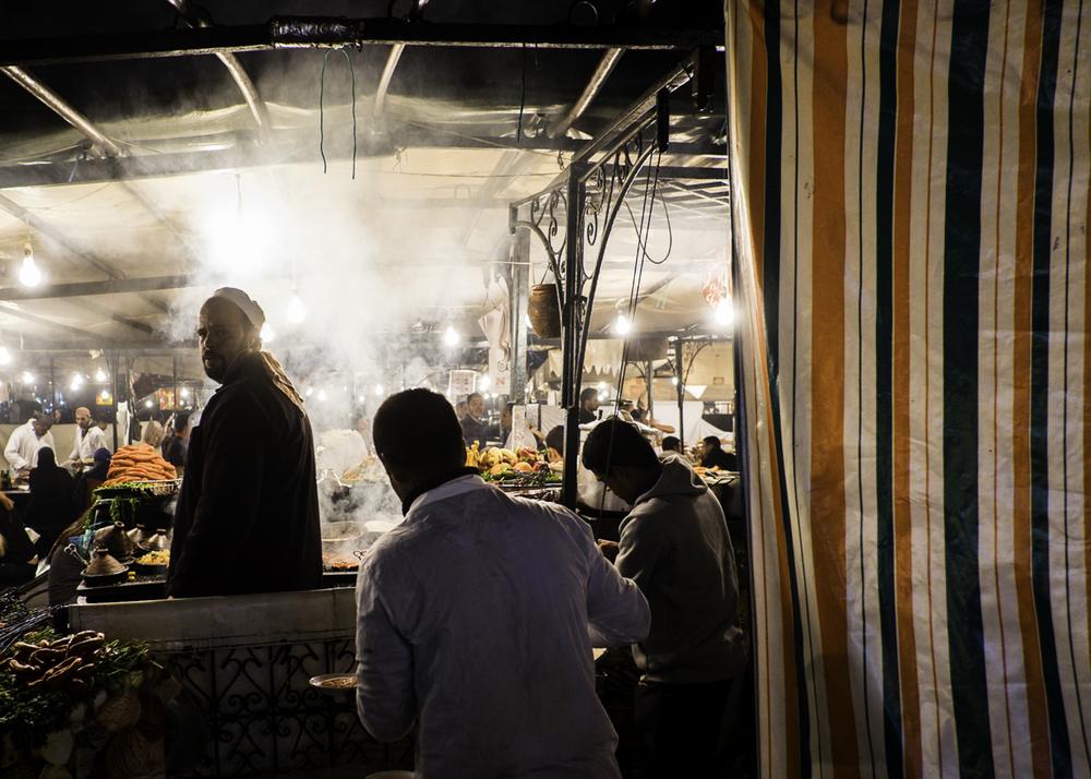 Jemaa el Fnaa-food market-cook-Jemaa el Fnaa-night