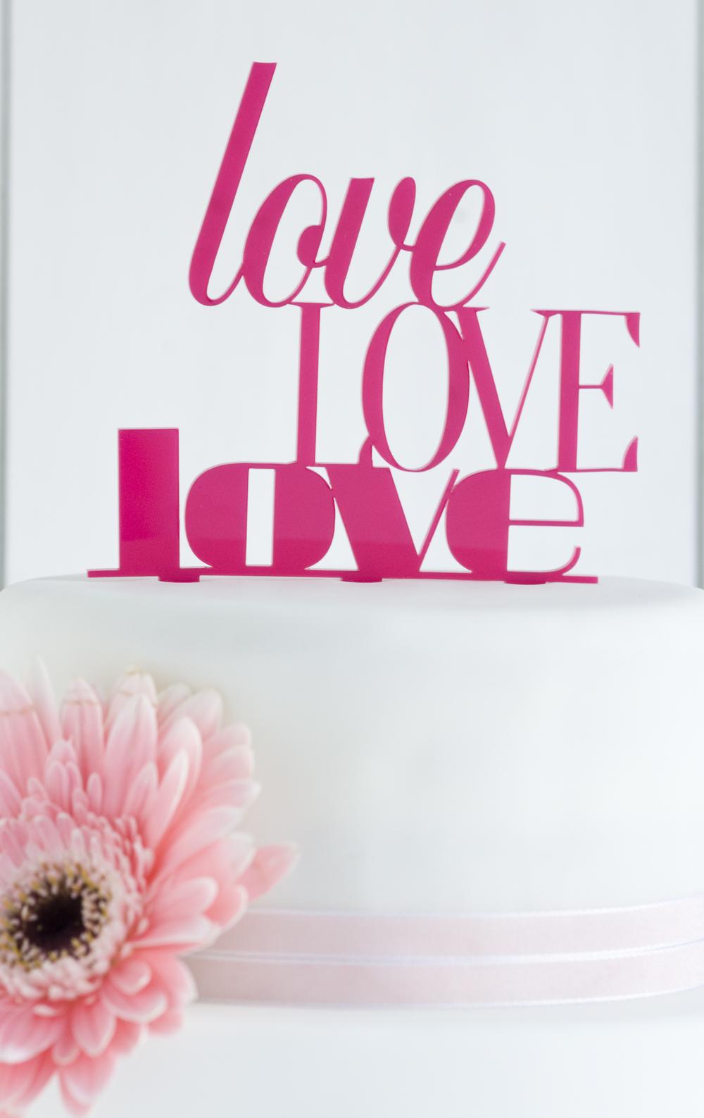 """""""love love love"""" Hartplastik-Caketopper"""