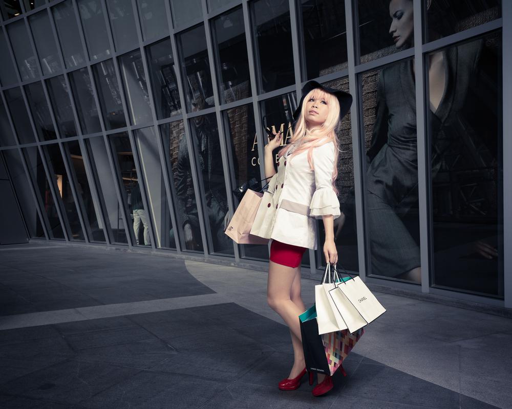 Fashion photography with woman shopping, symbolizing consumerism