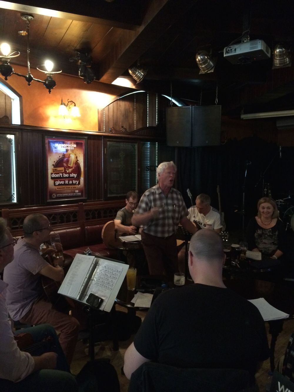 Typically lively singing at JJ's monthly Irish music gathering.