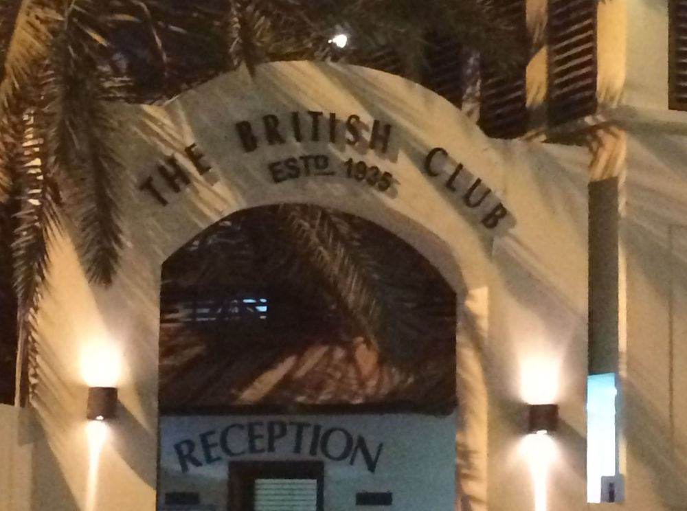 The British Club, a throwback to (fairly recent) Colonial times, where shepherd's pie and mushy peas are served up poolside.