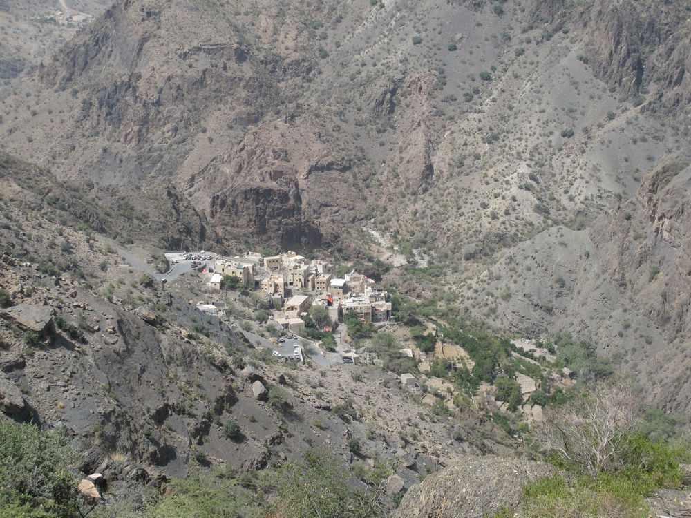 Yes, that is a village way, way down in a valley in Jebel Akhdar. Views like this are common here.