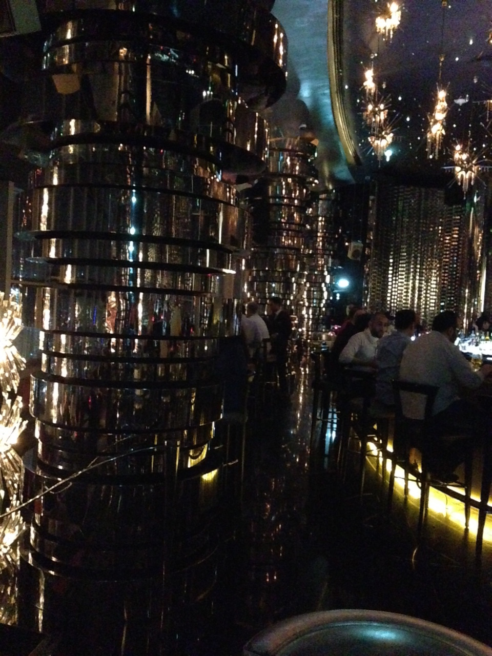 The bar, all mirrors and swag, where we viewed the Burj Khalifa and the fountains.