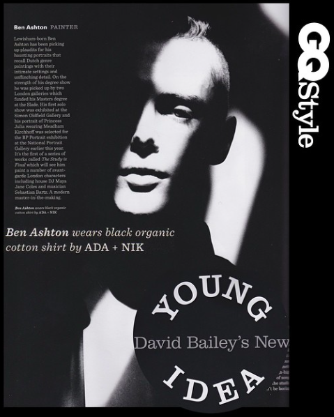 I had my photo taken by David Bailey for GQ Style. It was part of a portfolio of young London creatives.