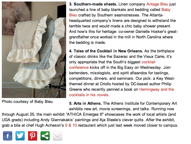 Baby Bleu Heirloom Stroller Blankets in Southern Living Magazine's Daily South Hot List