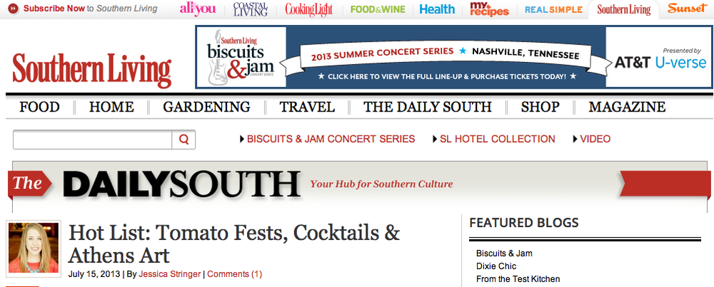 Antage Bleu & Baby Bleu make Southern Living Magazine's Daily South Hot List