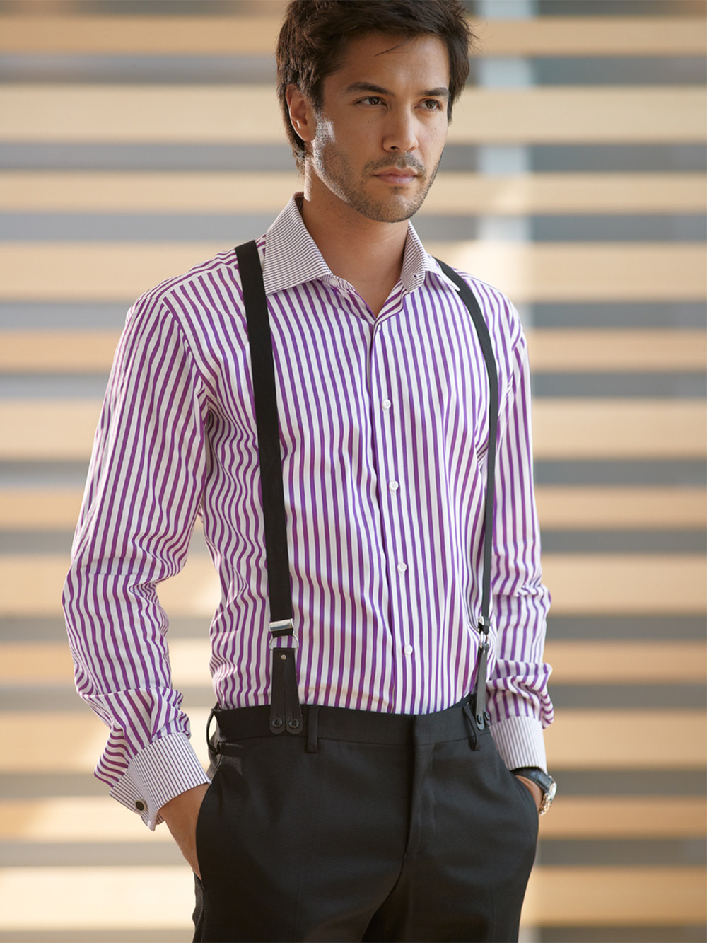 Etrusca-Collezione-Uno-Gentiuomo-Purple-Stripe-Contrast-Stripe-Collar-Cuff-Model-Indoors-001-RT.jpg