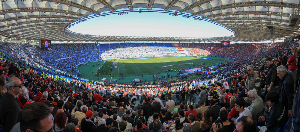 "Upper Side View of the Stadio Olimpico in Rome during the ""Coppa Italia Final"""