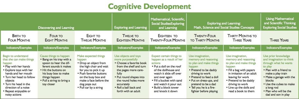 cognitive development chart