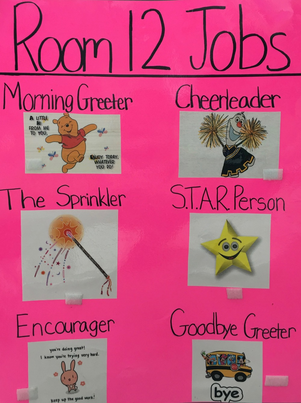 A poster from classroom 12 illustrates the different jobs children do to help build our school family.