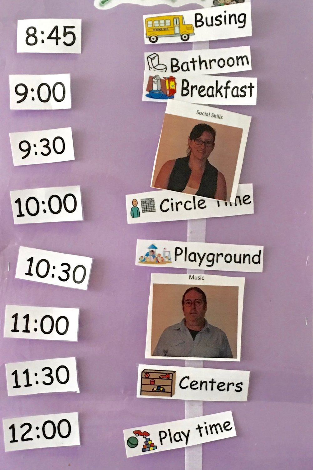 Each class has it's own picture schedule posted in a place where children can easily see it throughout the day. Visual cues and photos of staff help them understand what activities are coming up next.