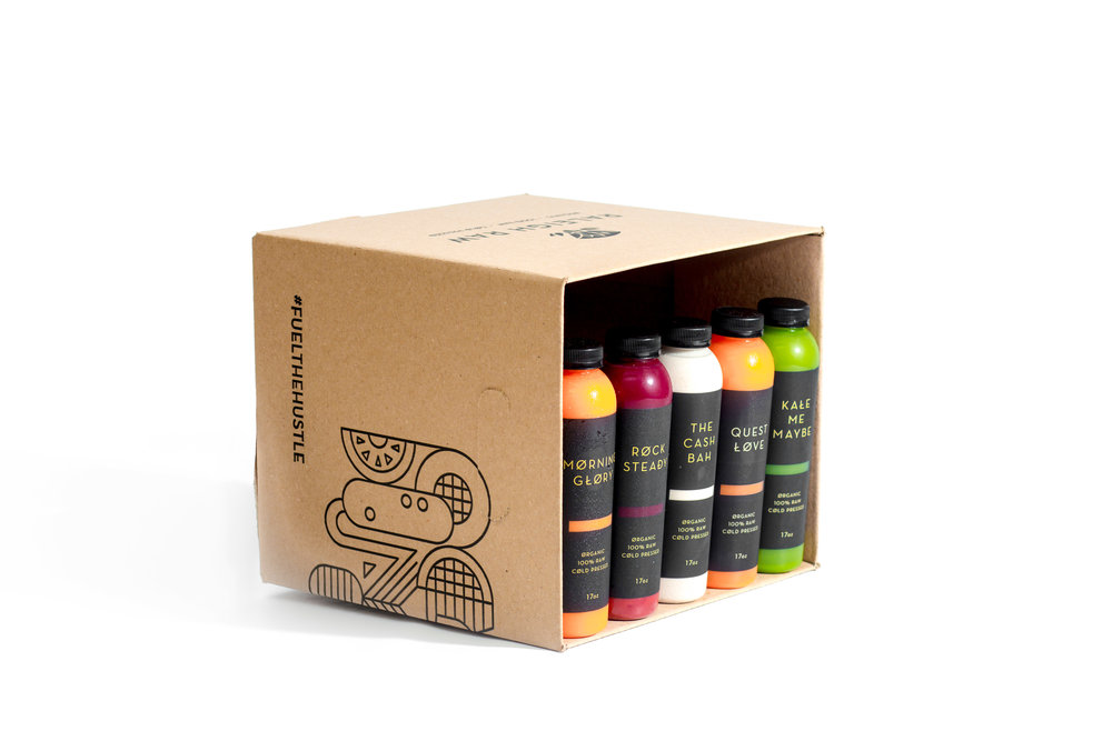 A delicious rotation of our most loved blends.  Never worry about your favorite juices being sold out when you pop into our shop. Instead, have them made just for you and then delivered right to your door on the reg. This is a balanced box for those looking to add more nutrients into their daily routine. A delicious rotation of our most loved blends.  Use this as a once-a-week daily cleanse or drink the juices one per day to cleanse your dirty soul with pure vegetables!    Prices range from $25.05 - $77.50