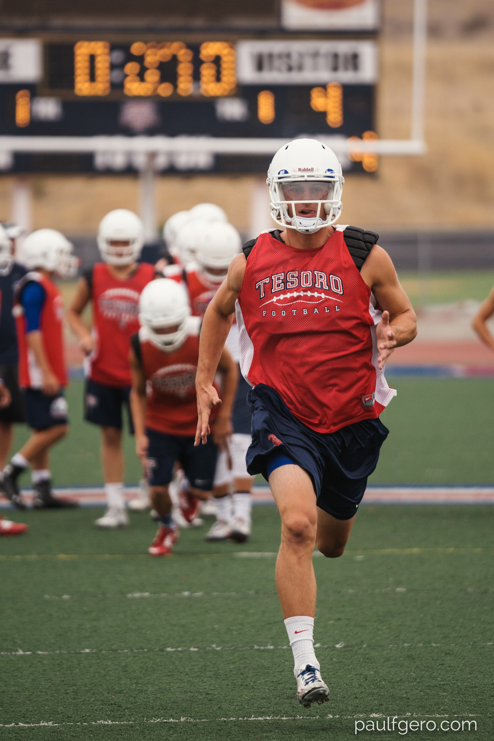 Tesoro highly recruited wide receiver Shane Coleman runs during Day One of Fall Camp at the school on Monday.  200mm, 400 ISO, 1/100  0th at f2.8.