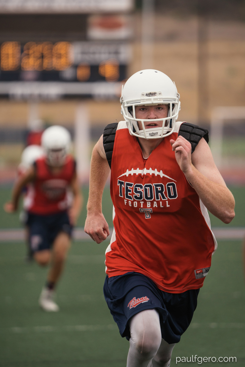 Tesoro players run during Day One of Fall Camp at the school on Monday.  200mm, 400 ISO, 1/100  0th at f2.8.