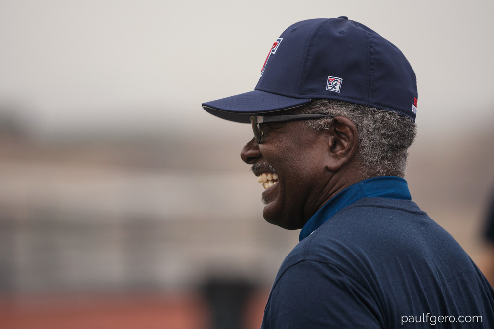 Tesoro assistant coach  Al Nichols smiles during Day One of Fall Camp at the school on Monday. 200mm, 400 ISO, 1/100  0th at f2.8.