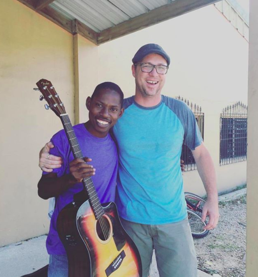Joshua of Midnight 30 Music in Belize, 2016 with Guitars For Glory.