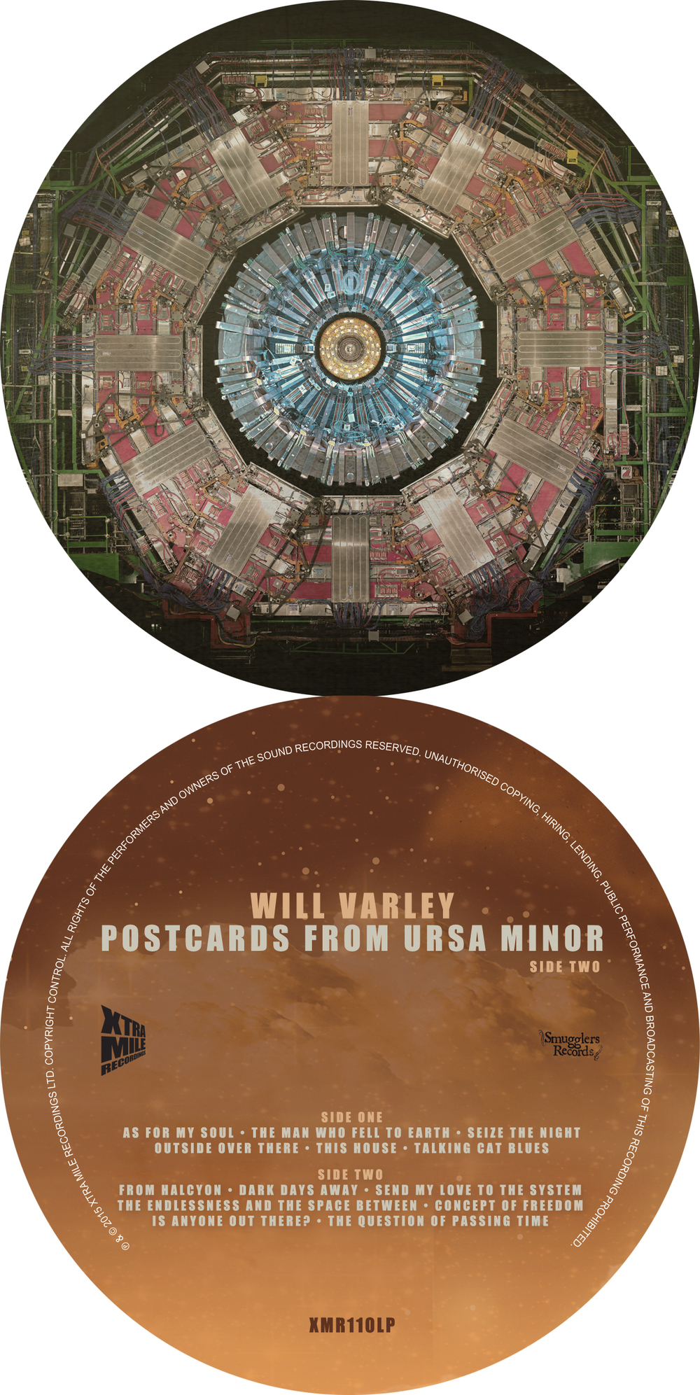 The labels for both sides of the vinyl release of  Postcards From Ursa Minor .