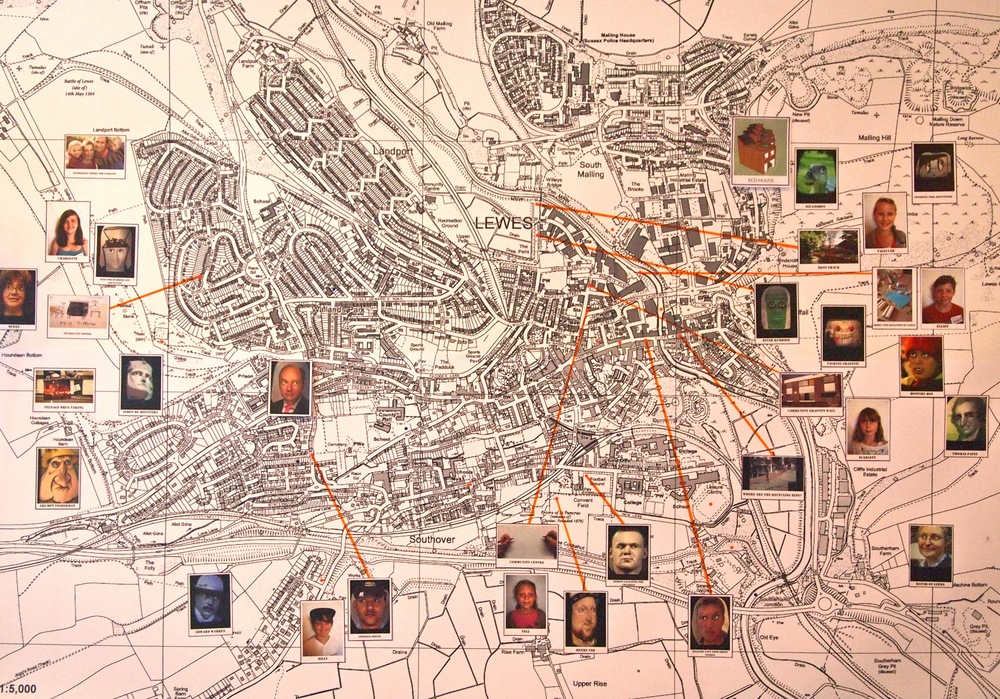 Lewes Town map with 'Ideas and Issues' videos attached, using augmented reality technologies.