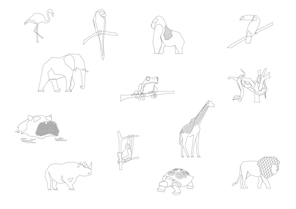 File drawings of animal characters to go on the quilt