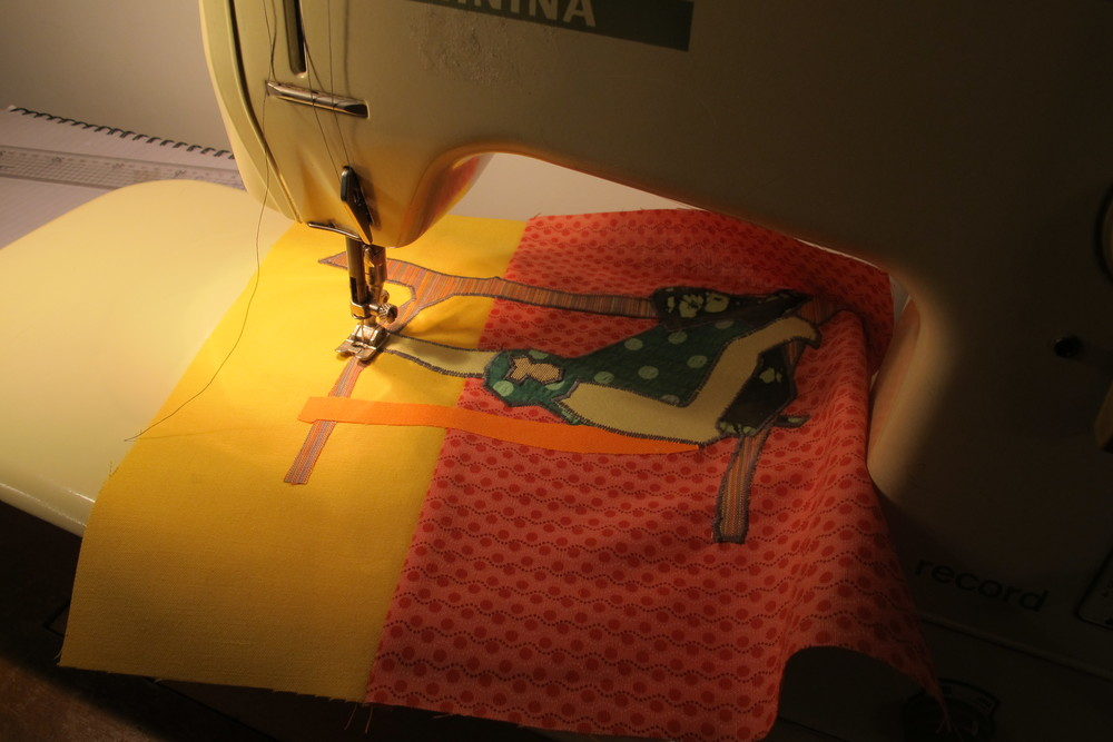 Appliquéing fabric together using the sewing machine