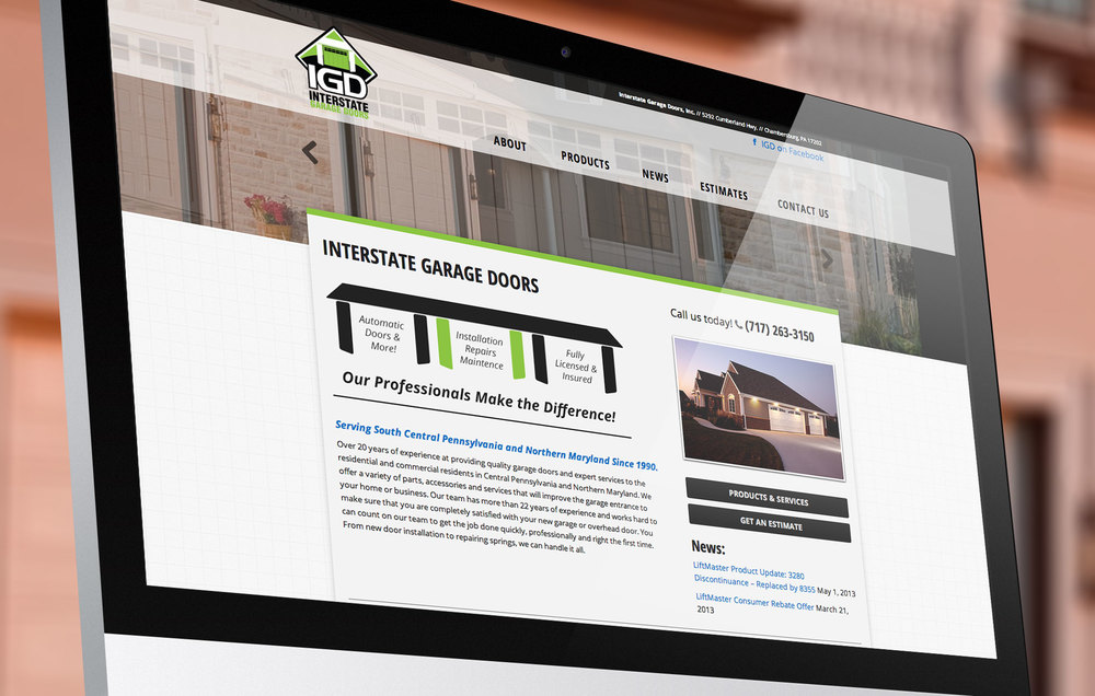 Interstate Garage Doors Website