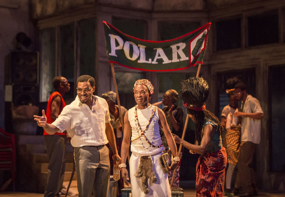 06 A Season in the Congo - (left-right) Chiwetel Ejiofor as Patrice Lumumba, Kabongo Tshisensa as the Likembe Player and Josépha Madoki. Photo by Johan Persson..jpg